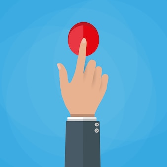 Hand touch button illustration.