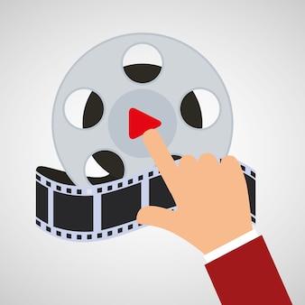 Hand touch cinema reel film