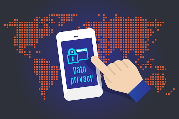 Hand touch on mobile with data privacy word with map in background, data security concept
