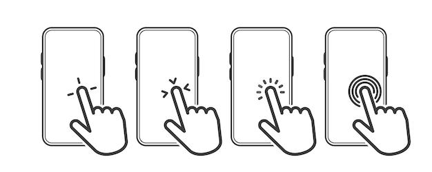 ハンドタッチスクリーンスマートフォンアイコン。スマートフォンをクリックします。ラインオブジェクト。ベクトルイラスト。