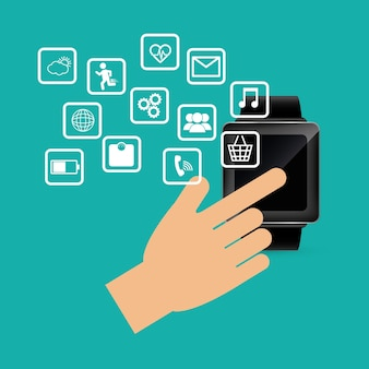 Hand touch smart watch wearable technology device electronic
