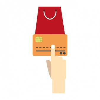 Hand touching credit card and shopping bag