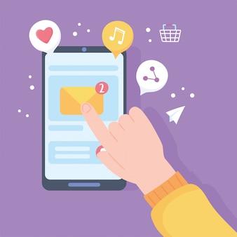 ディスプレイに触れる手モバイル電子メール受信、ソーシャルネットワーク通信システムおよびテクノロジーの図