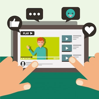 Hand touching screen mobile blogger man video viral content