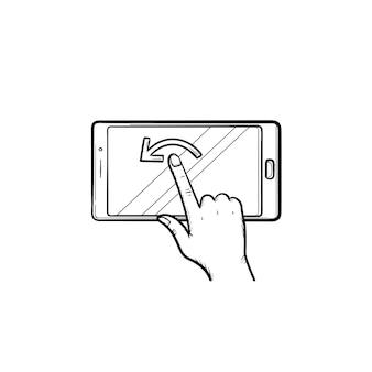 スマートフォンの画面に手で触れる手描きのアウトライン落書きアイコン。モバイル画面、ガジェット、通信の概念