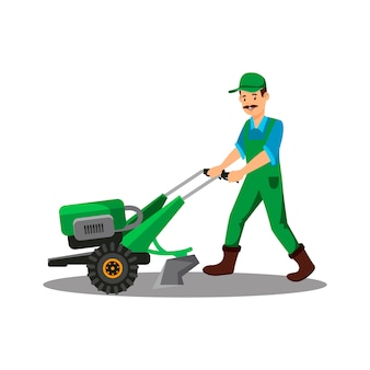 Hand tractor flat vector illustration
