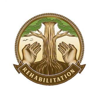 Hand and tree element for life logo and people