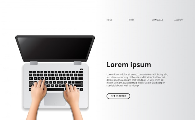 Hand typing laptop top view computer landing page clean modern concept.