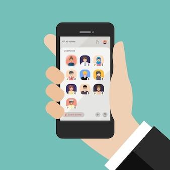스마트 폰에서 클럽 하우스 애플리케이션을 사용하는 손. 삽화