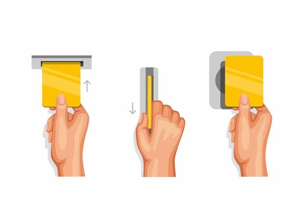 신용 카드 또는 직불 카드 명령을 사용하는 손 탭 및 슬라이드 제스처