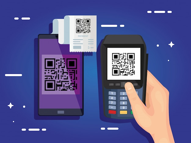 Hand using dataphone with scan code qr and smartphone