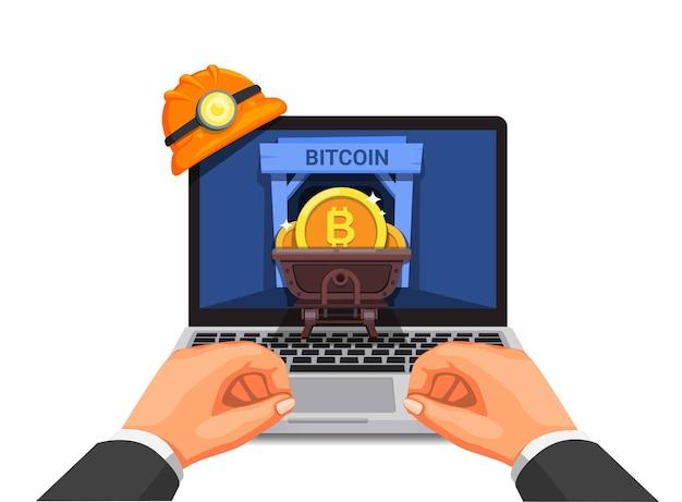 Рука, использующая ноутбук, майнинг криптовалюты, бизнес мультфильм