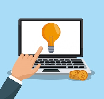 Hand using laptop to make money