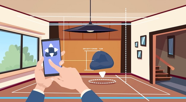 Hand using smart home app of control system over living room background, technology of house automation concept
