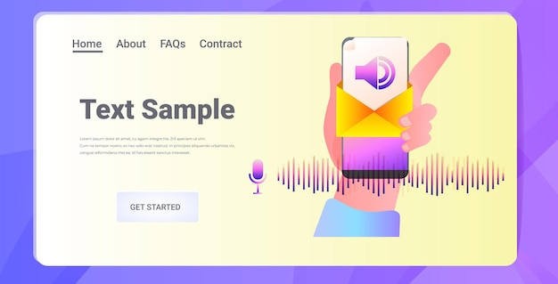 Hand using smartphone communicate in instant messenger by voice messages audio chat application social media online communication concept horizontal copy space  illustration