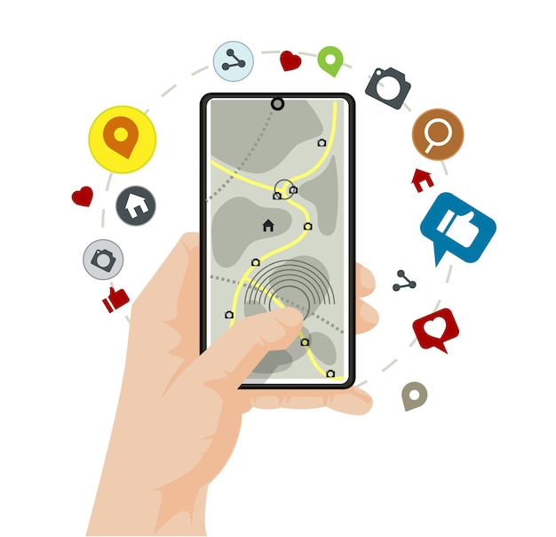 Hand using smartphone with gps navigation and social  media icons