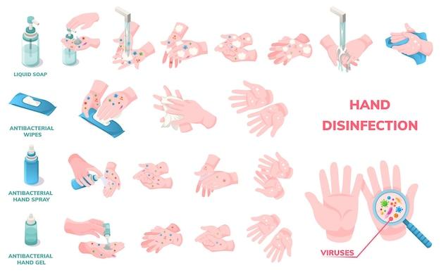 손 세척 위생 및 소독, 벡터 인포 그래픽 아이콘. 코로나 바이러스 보호 손씻기 절차, 항균 액체 비누, 알코올 물티슈 및 바이러스 소독을위한 살균 젤 사용
