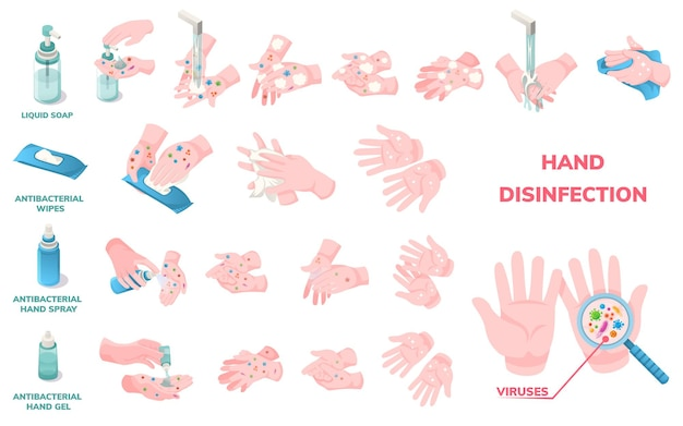 Hand wash hygiene and disinfection, vector infographic icons. coronavirus virus protection hand wash procedure, antibacterial liquid soap, alcohol wipes and sanitizer gel use for virus disinfection