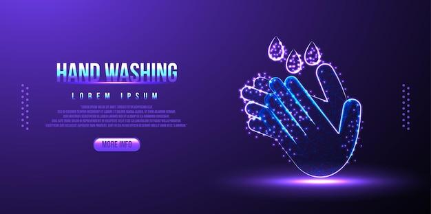 Мытье рук, дезинфицирующее средство для рук low poly wireframe