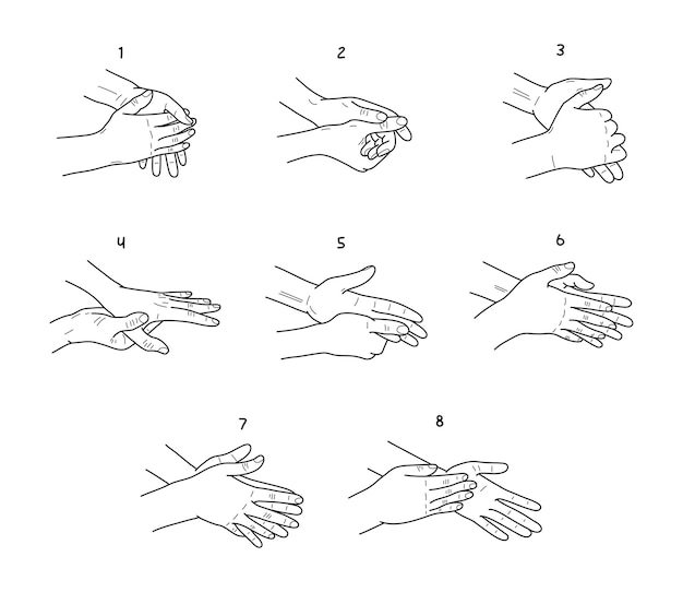 Hand washing instructions black and white illustrations set palms and fingers cleaning steps sketches pack routine individual hygiene procedure stages drawings infographic of prevent virus infection
