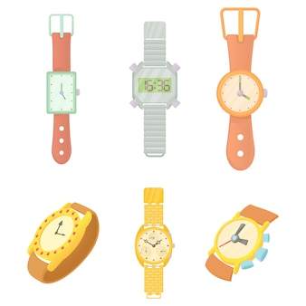 Hand watch icon set