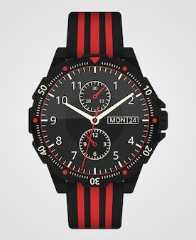 ハンドウォッチ。男の時計は白い背景で隔離。腕時計アクセサリー。