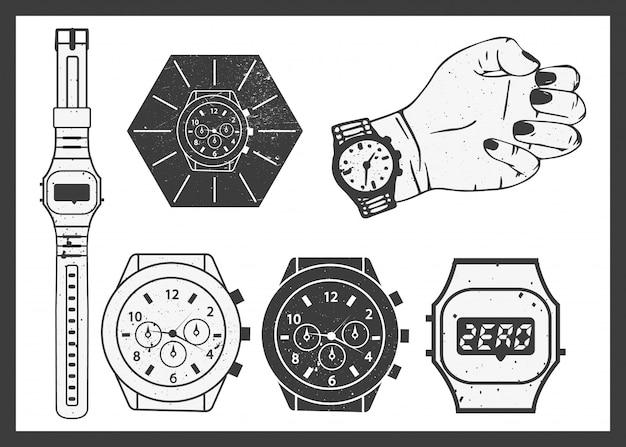 Hand watches vector set