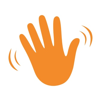Hand wave waving hi or hello gesture flat vector icon. greeting sign.