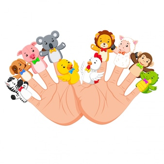 Hand wearing 10 finger animal puppet that are really funny