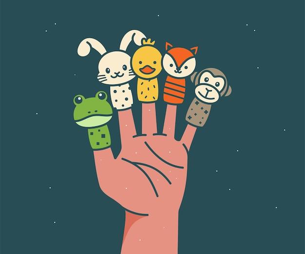 Hand wearing 5 finger puppets frog rabbit duck fox monkey animal finger puppets vector