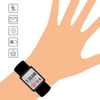 Hand wearing smart watch wearable technology display app