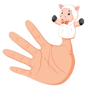 Hand wearing a white sheep finger puppet on thumb