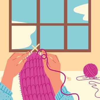 손으로 짜는 분홍색 스카프