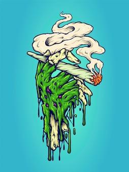 작업 로고, 마스코트 상품 티셔츠, 스티커 및 라벨 디자인, 포스터, 인사말 카드 광고 비즈니스 회사 또는 브랜드를 위한 핸드 위드 흡연 마리화나 벡터 삽화.