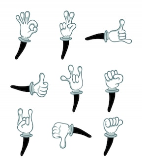 Hand in white glove gesture isolated set