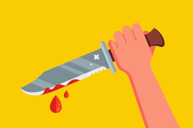 피 묻은 칼로 손을.
