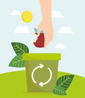 Hand with apple on trash recycling