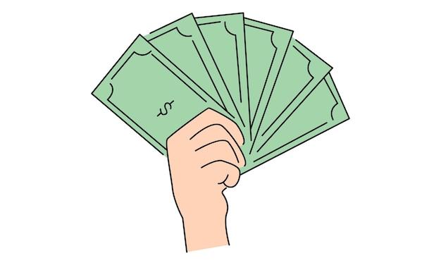お金の紙幣を手に