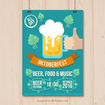 Hand with a beer poster for oktoberfest