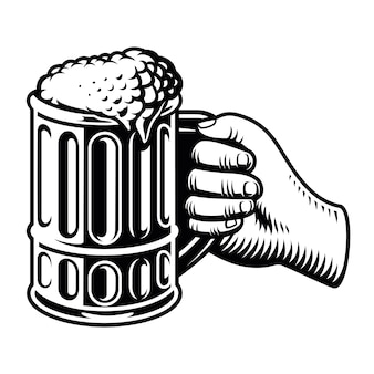 Hand with a big glass of beer isolated on white