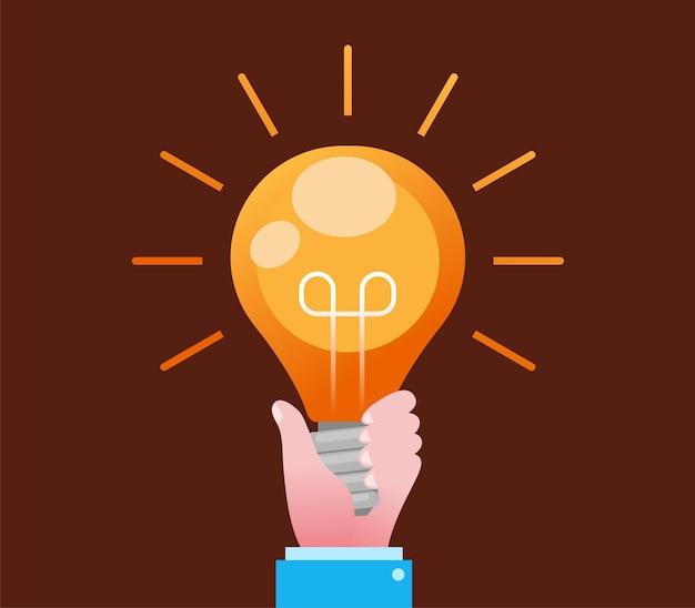 電球ライトブレーンストーミングコンセプトフラットベクトルイラストバナーとランディングページを持つ手