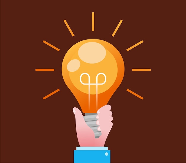 Hand with bulb light brainstorming concept flat vector illustration banner and landing page