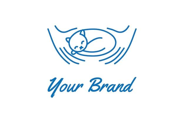 동물 애완 동물 사랑 클럽 커뮤니티 로고 디자인 벡터에 대 한 고양이 키티와 손