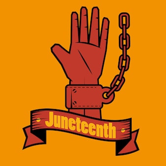 Hand with chain and juneteenth sign