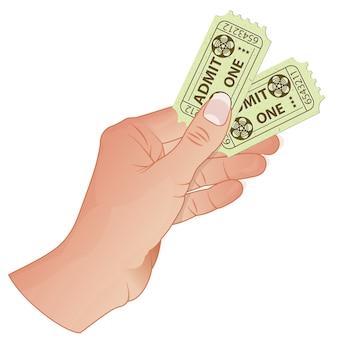 Hand with cinema tickets