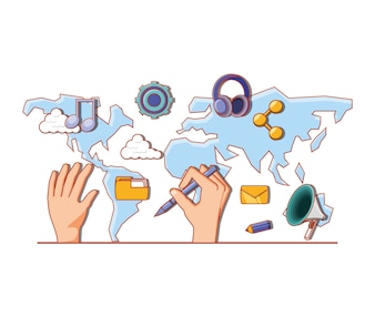 Hand with continents and social media set icons
