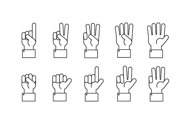 Hand with counting fingers line symbols