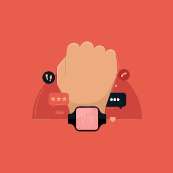 Hand with digital and smart health watch