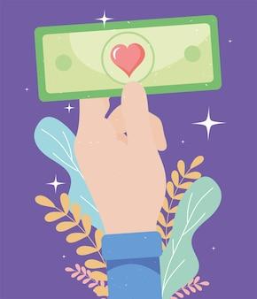 Hand with donate money bill