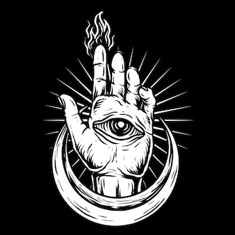 Hand with eye and half moon hand drawn style